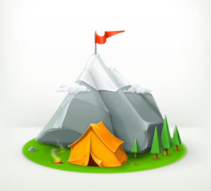 Camping tent and mountain royalty free illustration