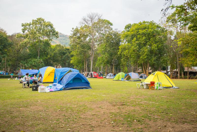Camping tent on the mountain at Huaymaekamin Waterfall , Thailand royalty free stock photos