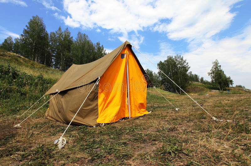 Camping tent on outdoor nature. Tourism
