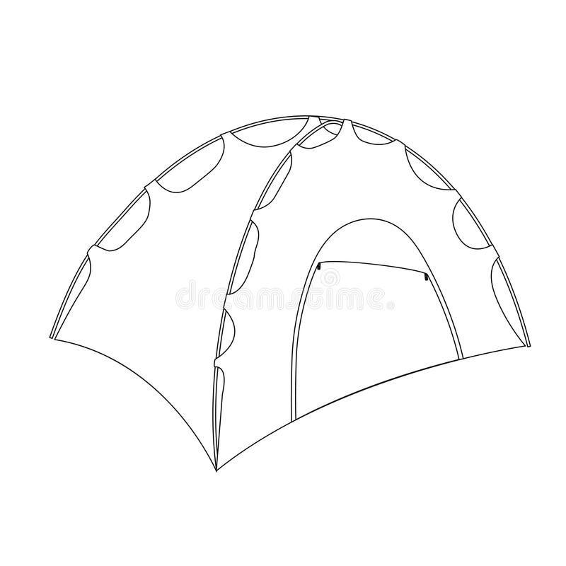 Camping Tent Shelter Outline Coloring Page Stock Illustration ...
