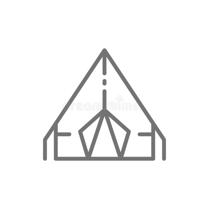 Camping tent, travel pavilion line icon. Vector camping tent, travel pavilion line icon. Symbol and sign illustration design. Isolated on white background stock illustration