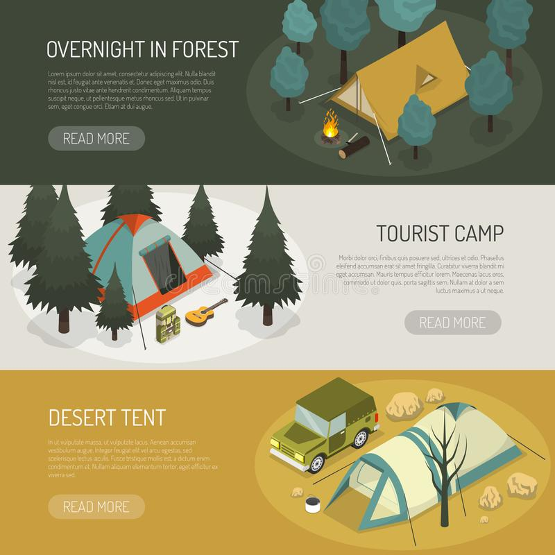 Camping Tents Choices Horizontal Banners Set. Camping tents choices tips for different purposes and capasity 3 horizontal banners webpage design isolated vector stock illustration