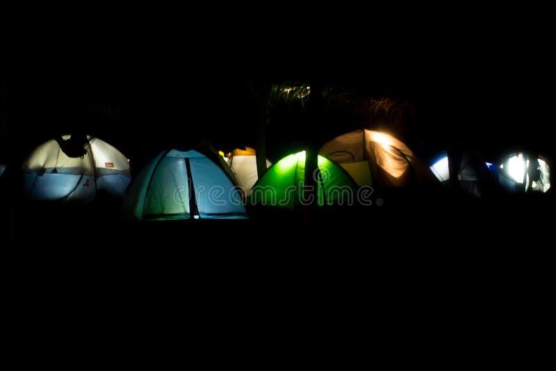 Camping tents at night stock photography
