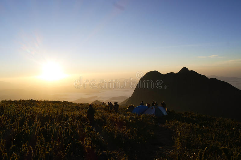 Camping at the top of the Mount Caratuva royalty free stock images