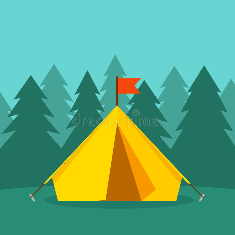 Camping tourist tent on forest landscape vector illustration vector illustration