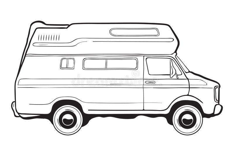 Camping trailer car, side view. Black and white vector illustration. royalty free illustration