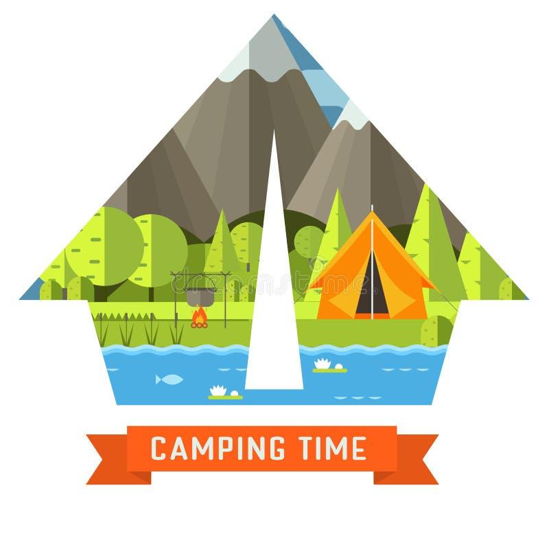 Camping Travel Flat Concept Contour Landscape royalty free illustration
