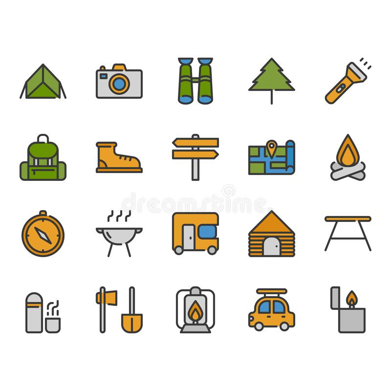 Camping and travel related icon set royalty free illustration
