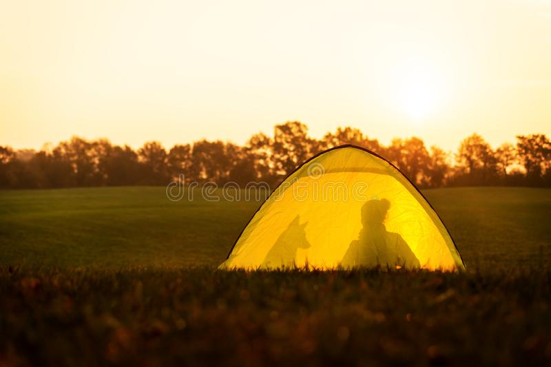 Camping and traveling, tent with the silhouettes of a woman and her dog stock images