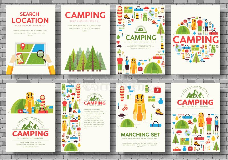 Camping trip cards set. Hiking template of flyear, magazines, posters, book cover, banners. Trave tourl infographic concept backgr royalty free stock photos