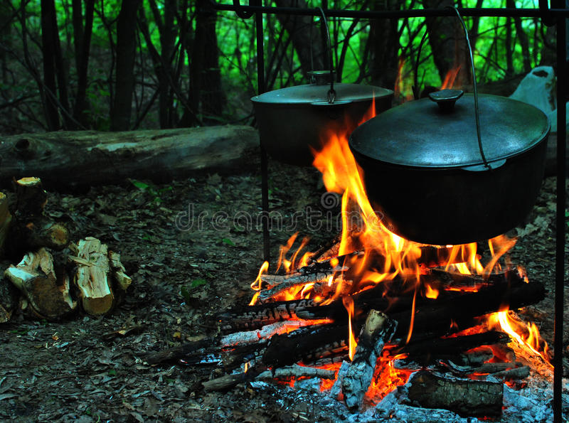 Camping trip/ food in camping trip royalty free stock photo