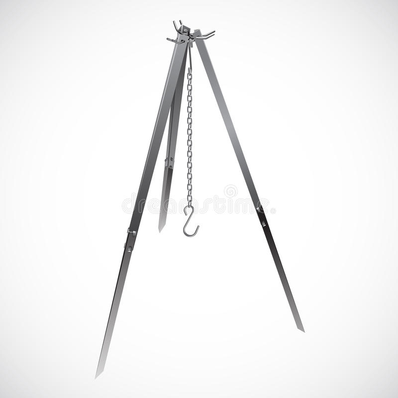 Camping tripod with chain hook realistic vector stock illustration