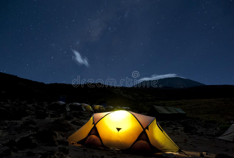 Camping under the stars Kilimanjaro stock photos