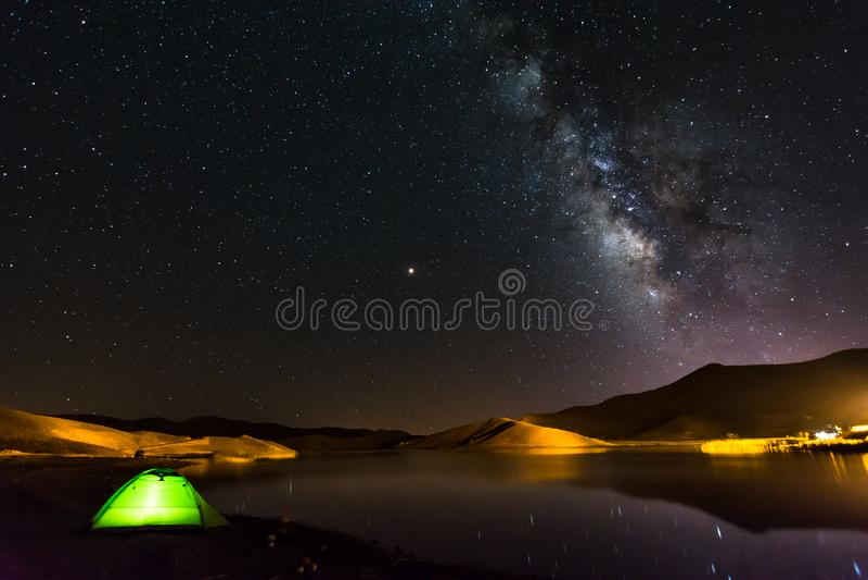 Camping under stars royalty free stock photo
