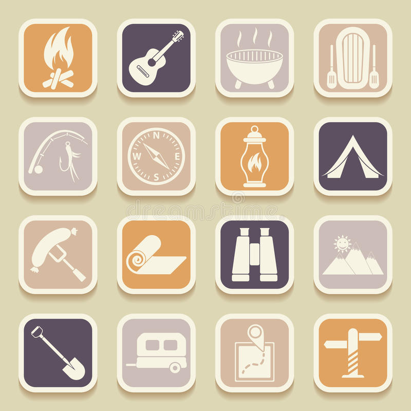 Camping universal icons. For web and mobile applications. Vector icons vector illustration