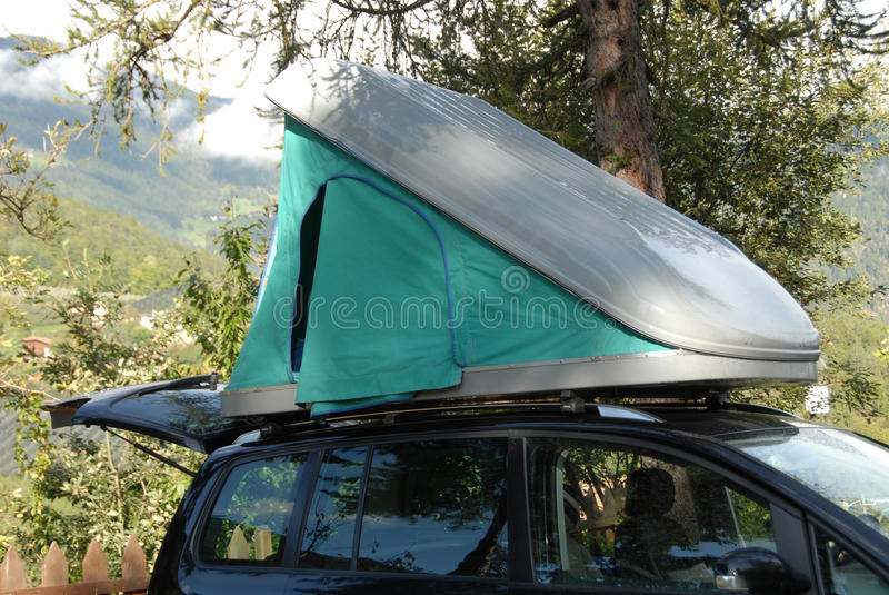 Camping Vacation with rooftop tent royalty free stock images