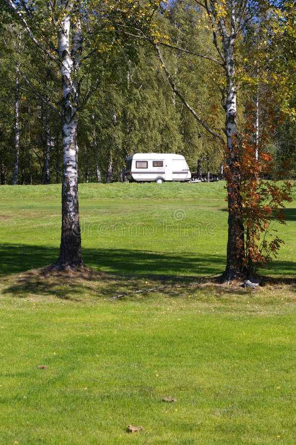 Free Camping Van In Forest Stock Photography - 3205242