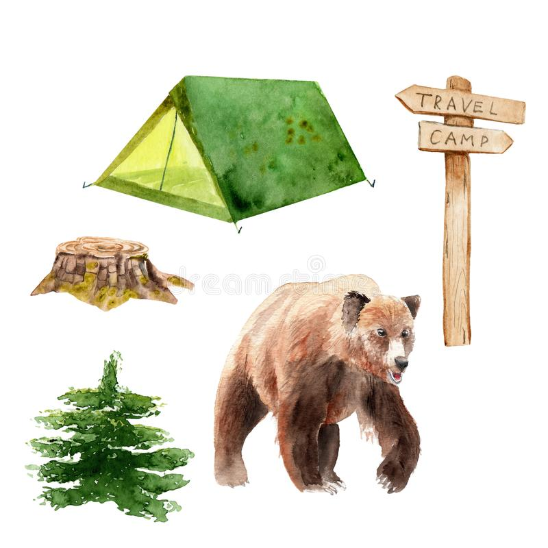 Camping watercolor set - tent, signpost, stump, bear, spruce. Camping watercolor set - tent, signpost, stump, bear spruce Sketch vector illustration