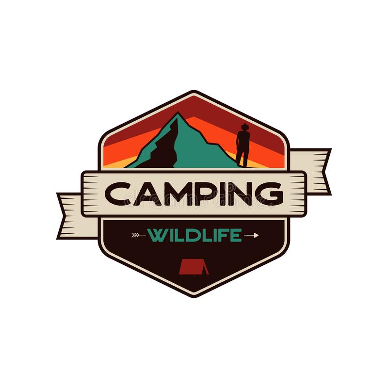 Camping Wildlife Badge. Mountain adventure emblem in retro colors style. Featuring mountains and hiker, camper man stock illustration