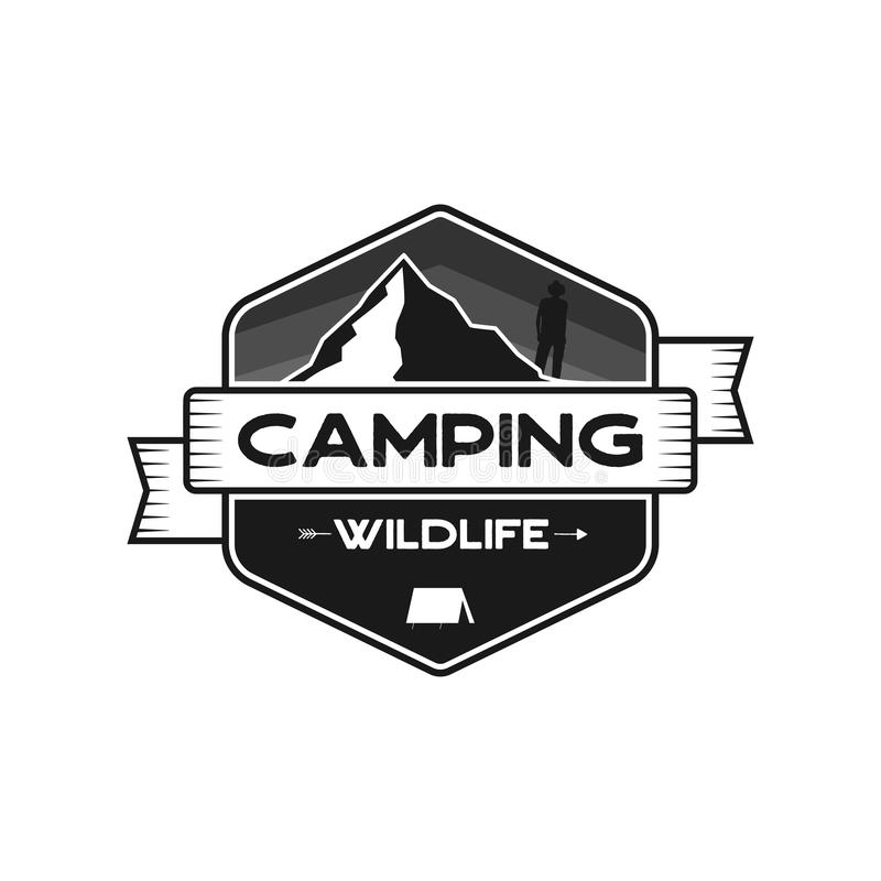 Camping Wildlife Badge. Mountain adventure emblem in silhouette retro style. Featuring mountains and hiker, camper man stock illustration