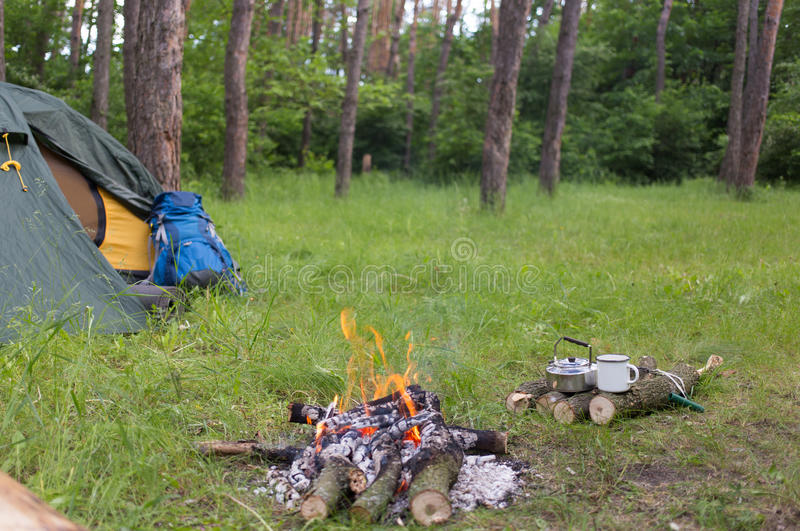 Download Camping In The Woods Stock Photo Image Of Fire Kettle