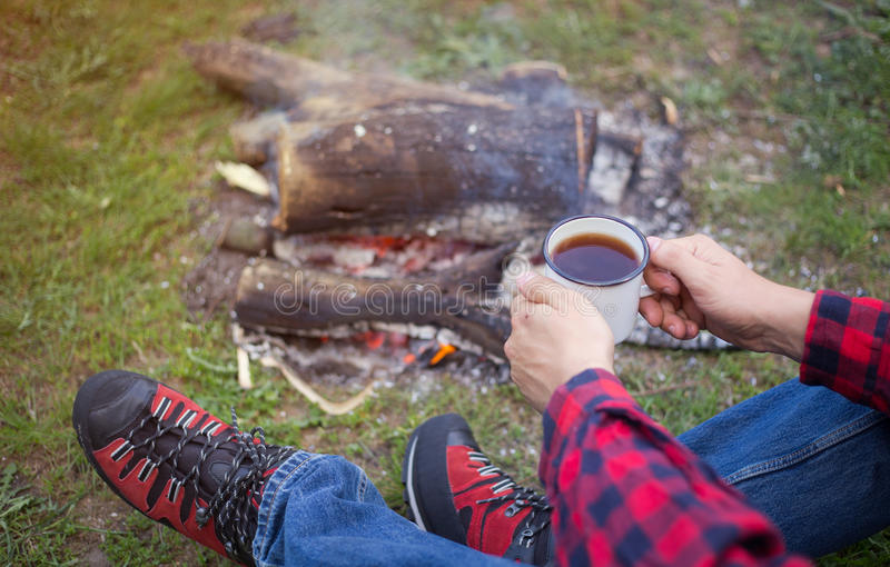 Download Camping In The Woods With A Fire Wood Stock Photo