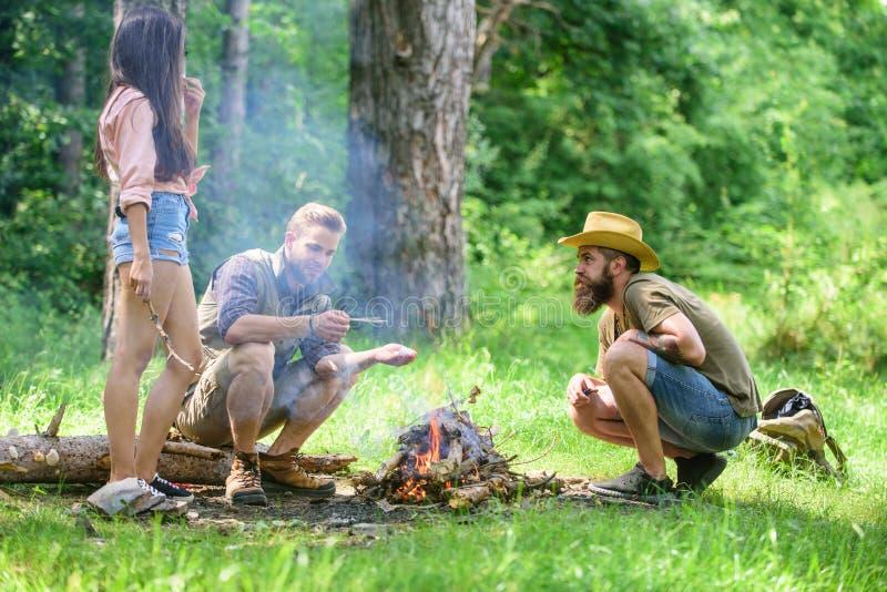 Campingowa aktywność Firmy młodości prażaka campingowi lasowi marshmallows Firma przyjaciele przygotowywają piec marshmallows prz obraz stock