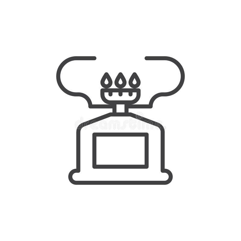 Campingowa benzynowej kuchenki linii ikona ilustracji