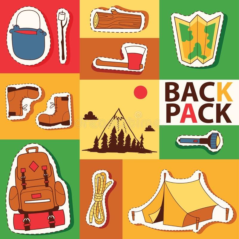 Campingowa majcheru przetrwania eksploracji turystyka i wycieczkować wektorową ilustrację Namiotowy plecak mapy latarki ax inicju ilustracji