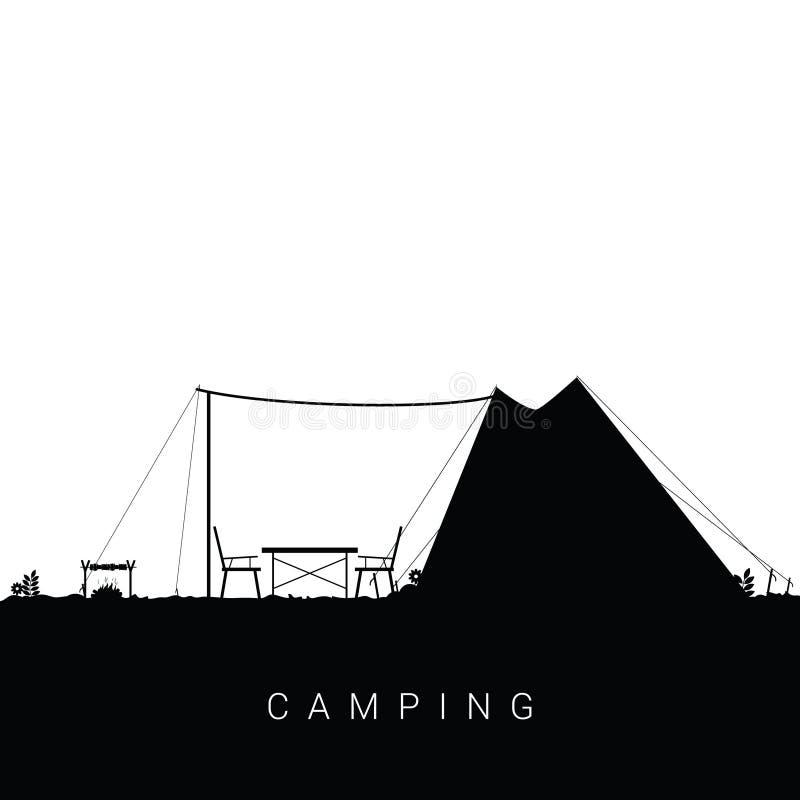 Campingowa natura z grill ilustracją w czarnym kolorze royalty ilustracja