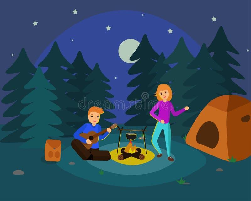 campingowa noc royalty ilustracja