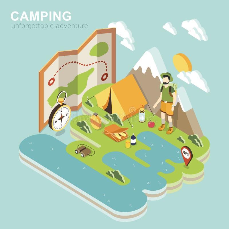 Campingowa przygoda ilustracji