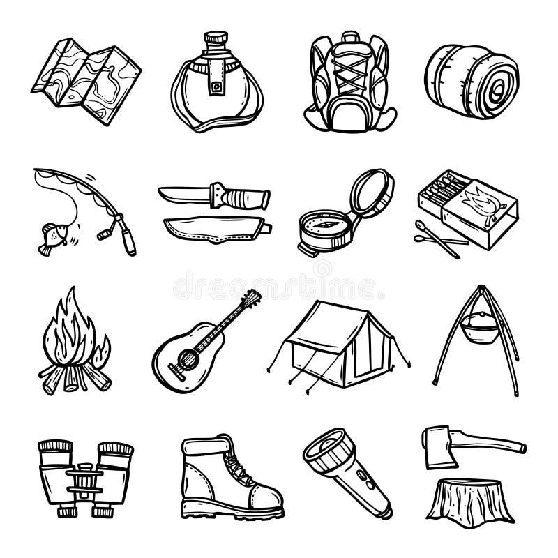Campingowe Czarne Białe ikony Ustawiać ilustracja wektor