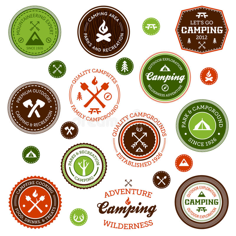 campingowe etykietki royalty ilustracja