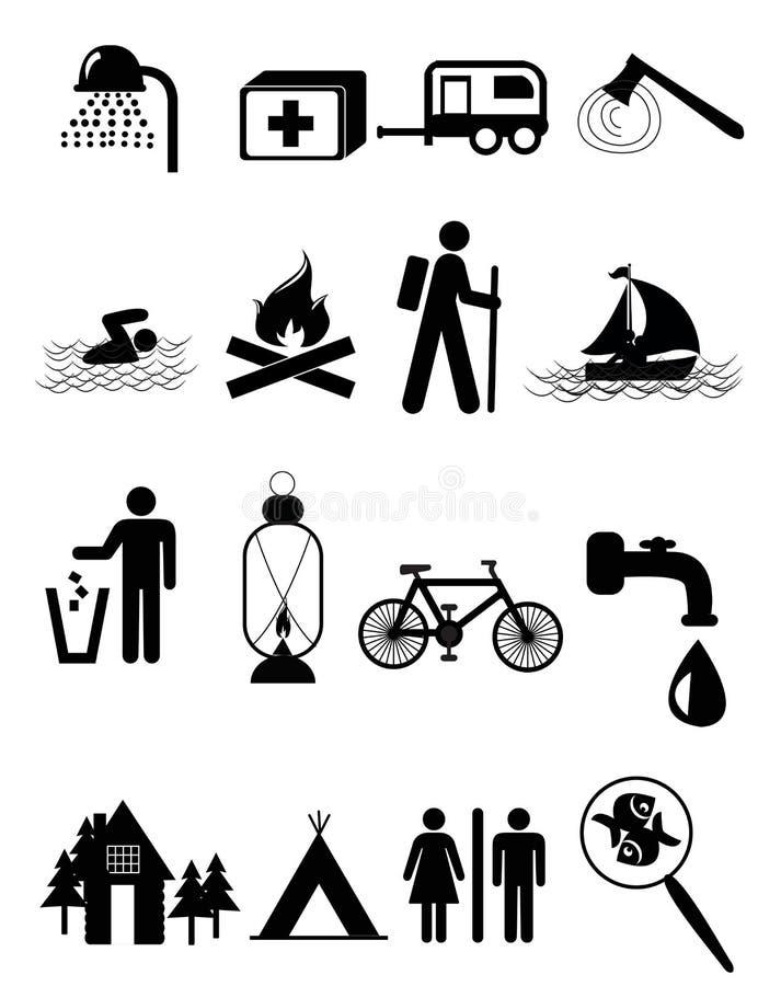 Campingowe ikony royalty ilustracja