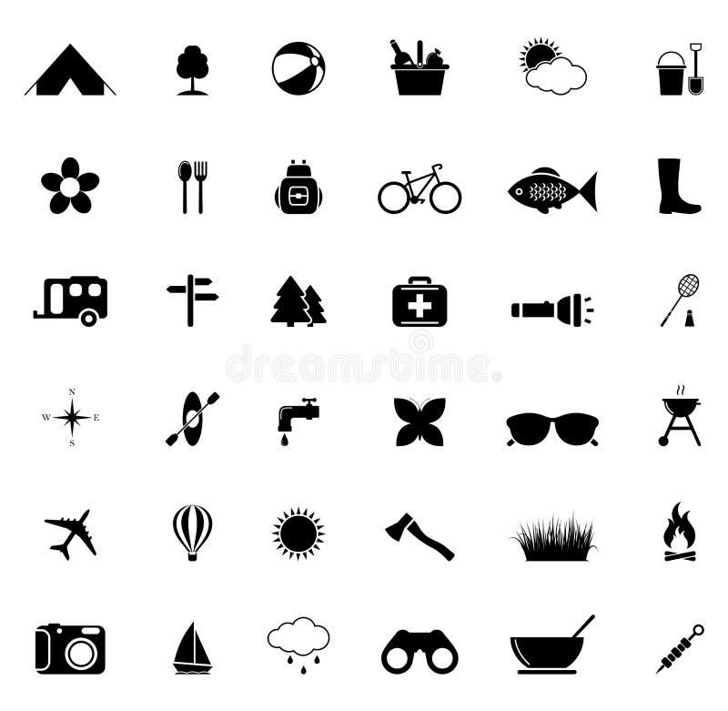 Campingowe ikony ilustracja wektor