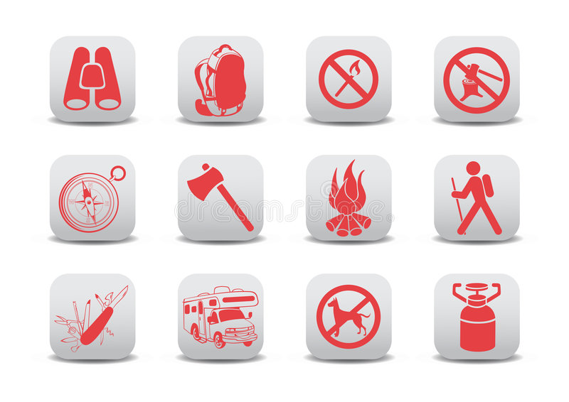 Campingowe ikony ilustracji