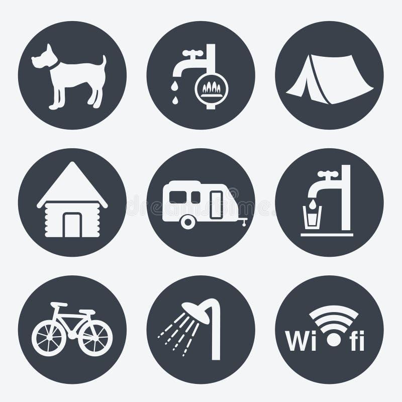 Campingowe ikony - kółkowi guziki, set 1 ilustracji