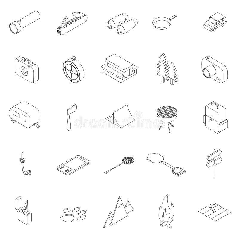 Campingowe ikony ustawiać, isometric 3d styl royalty ilustracja
