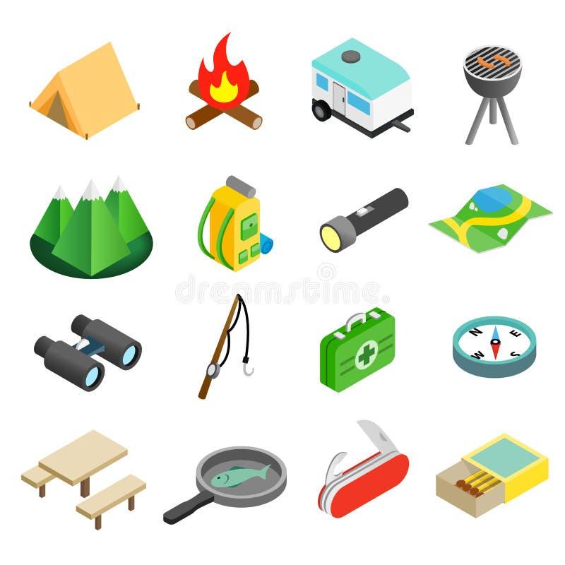 Campingowe isometric 3d ikony royalty ilustracja