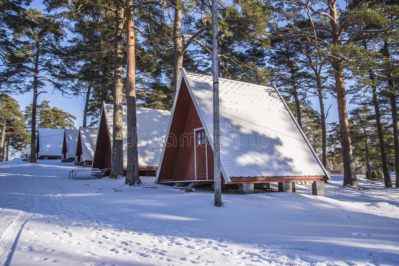 Campingowe kabiny na Fredriksten fotografia stock