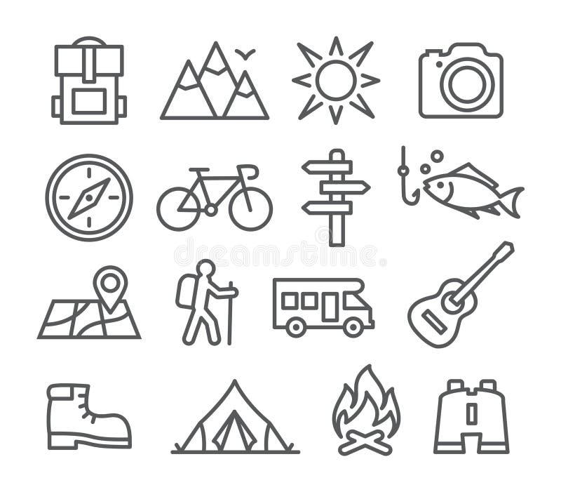 Campingowe kreskowe ikony ilustracja wektor
