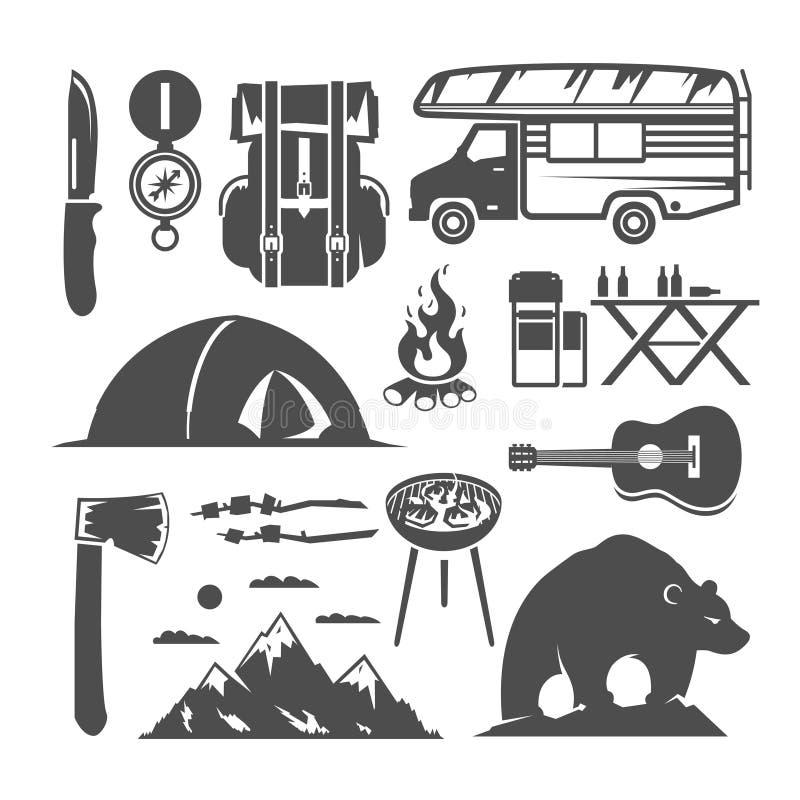 Campingowe wektorowe czarny i biały ikony ilustracji
