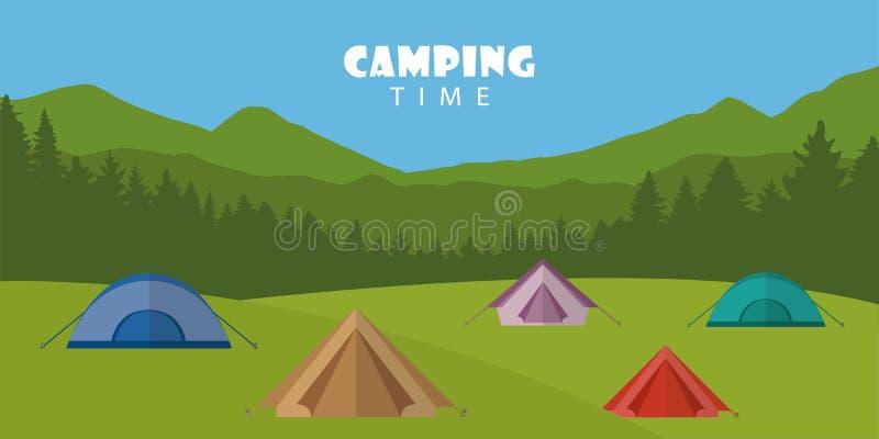 Campingowego czasu lata plenerowy krajobraz z kolorowymi namiotami ilustracji