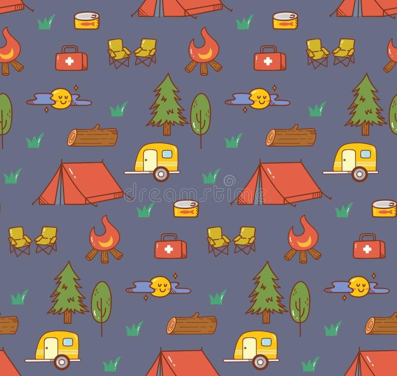 Campingowego materiału kawaii doodle bezszwowy tło royalty ilustracja