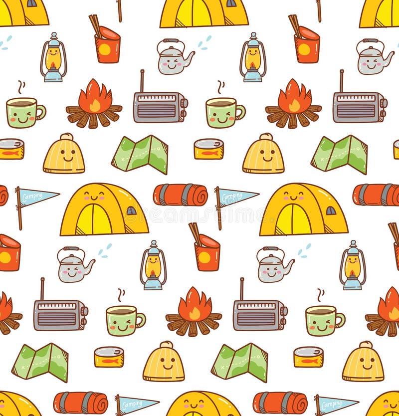 Campingowego materiału kawaii doodle bezszwowy tło ilustracja wektor