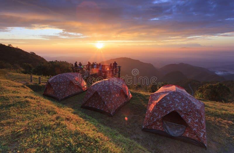 Campingowego namiotu Doi Ang Khang parka narodowego Chiang Mai fotografia royalty free