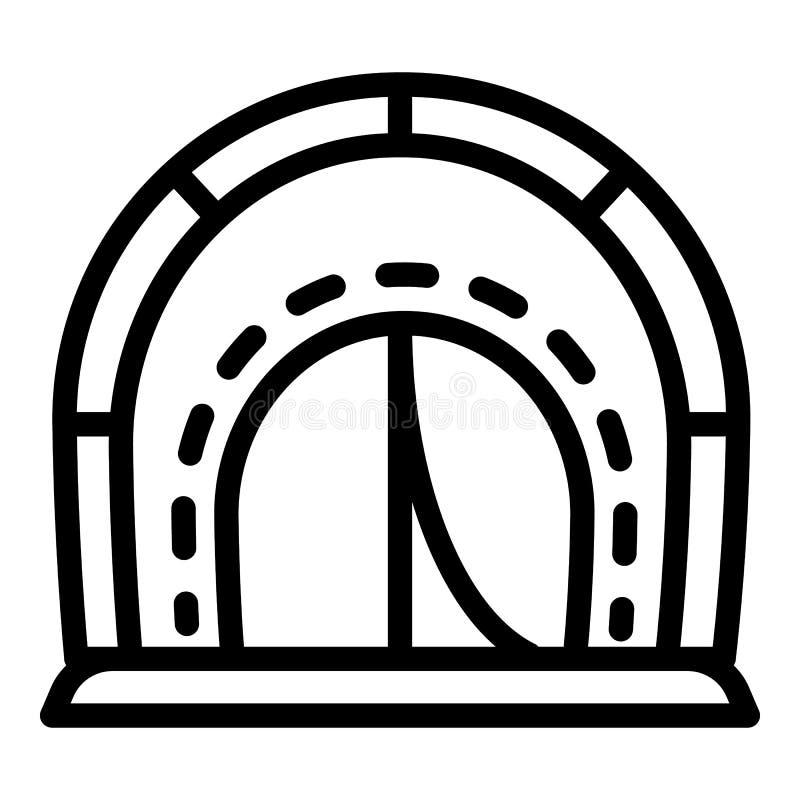 Campingowego namiotu ikona, konturu styl ilustracja wektor