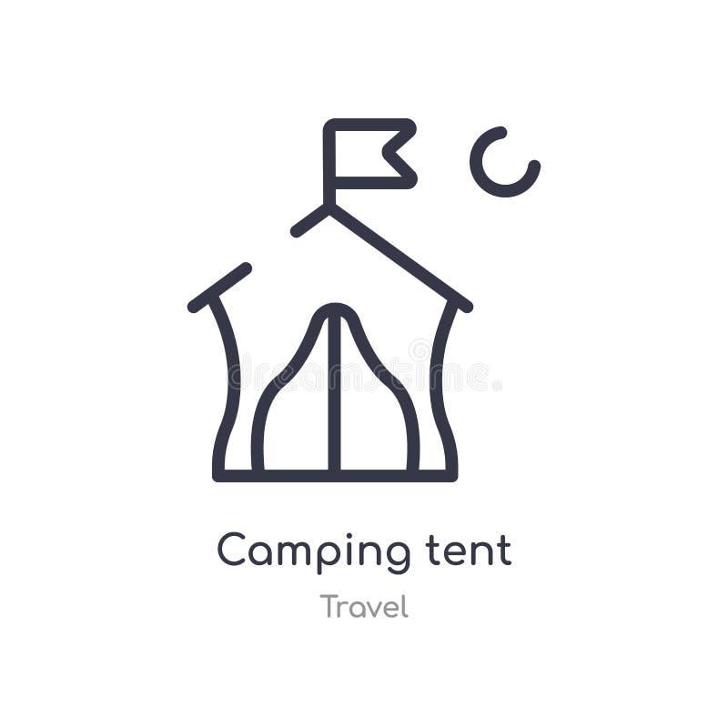 Campingowego namiotu konturu ikona odosobniona kreskowa wektorowa ilustracja od podr??y kolekcji editable cienieje uderzenie camp royalty ilustracja