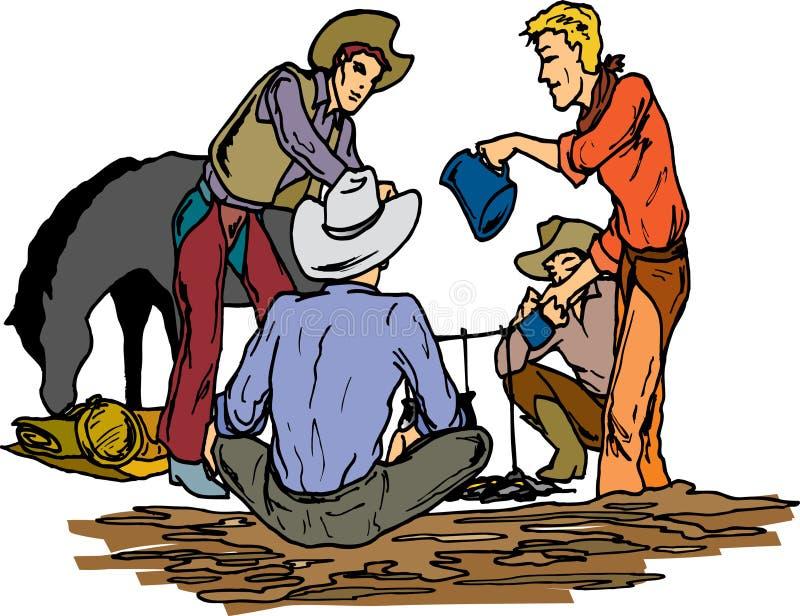 campingowi kowbojów. ilustracji